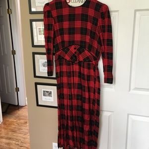 Vintage MISS DORBY Buffalo Plaid Modest DRESS 14